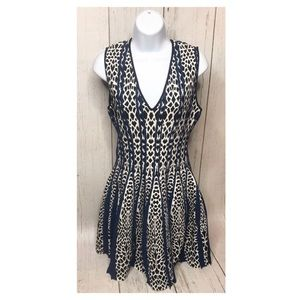 RVN Print Sweater Dress Black and White